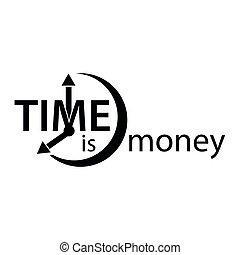 時間, 是, 錢。, 套間, 矢量, 鬧鐘, 圖象, 在懷特上, 背景。