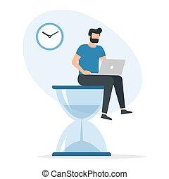 時間, 最終期限, 工作, hourglass., 膝上型, 人坐, 概念, 大, 管理