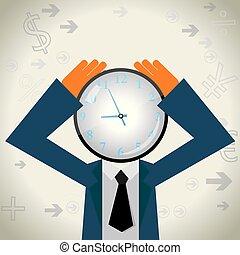 時間, 概念, 設計, 鐘, 上, the, 商人, head.