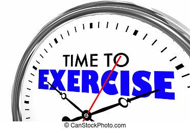 時間, 為了鍛煉, 健身, 健康, 鐘, 詞, 3d, 插圖