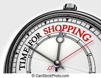 時間, 為, 購物, 概念, 鐘