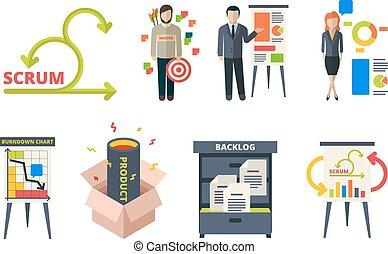 時間, 發展, 過程, 事務, 方法學, 框架, 軟件, 管理, system., 項目, 混亂的人群, 隊 工作, 敏捷, 矢量