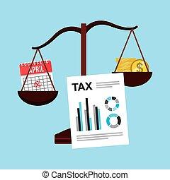時間, 税, 支払い, アイコン