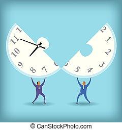 時間, 計數, 概念, design., 二, 商人, 繼續, a, 鐘, puzzle.