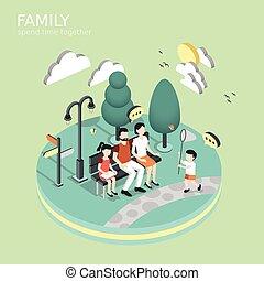 時間, 費やしなさい, 一緒に, 家族, 概念