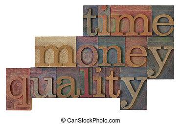 時間, 錢, 質量