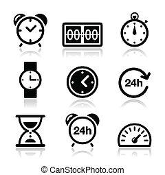 時間, 鐘, 矢量, 圖象, 集合