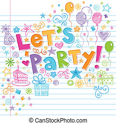 時間, sketchy, パーティー, birthday, doodles