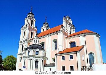時間, st. 。, 教会, catherine, 春, vilnius