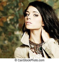 時髦模型, 女孩, 肖像, 由于, 長的頭髮麤毛交織物