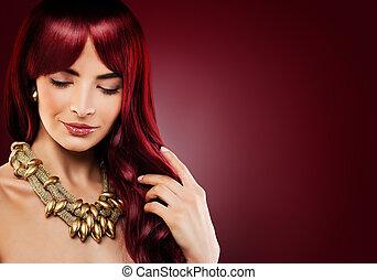 時髦模型, 婦女, 由于, 紅色, 卷曲, hair., 美麗, redhead, 女孩