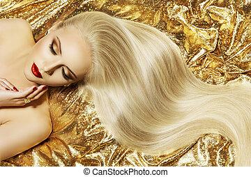 時髦模型, 金, 顏色, 頭髮麤毛交織物風格, 婦女, 招手, 發型