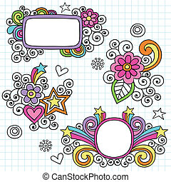 時髦, 框架, 以及, 邊框, doodles