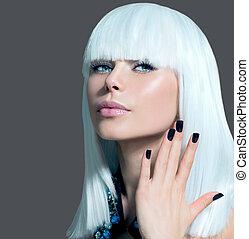 時髦, 風格, 模型, portrait., 女孩, 由于, 白髮, 以及, 黑色, 釘子