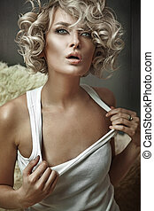 時髦, 風格, 相片, ......的, a, 年輕, 白膚金發碧眼的人, 美麗