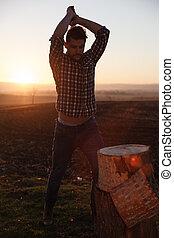 時髦, lumberjack, work.