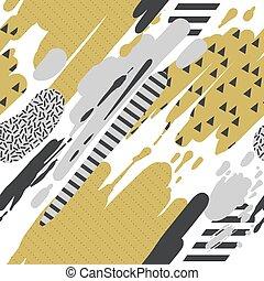 時髦, seamless, 圖案, 由于, 刷子打擊, 在, 孟菲斯, style., 摘要, 背景, 為, 招貼,...