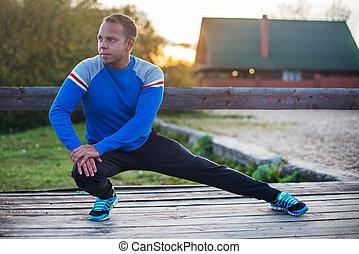 晚上, 伸展, 健身, aoutdoors, 人, 概念, 鍛煉, 運動, sunset.