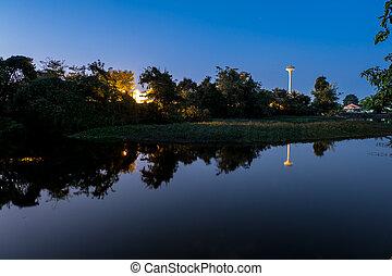 晚上, 反映, 表面, sky.