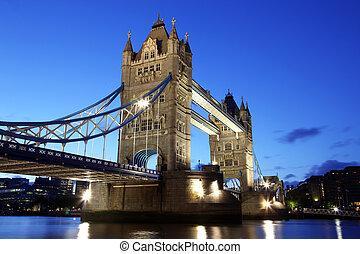 晚上, 塔桥梁, 伦敦, 英国