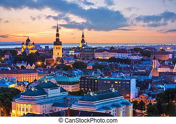 晚上, 景色, 在中, tallinn, estonia