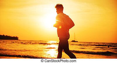 晚上, -, 肌肉, 熱帶, 慢慢走, 鍛煉, 海灘, 人