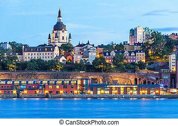 晚上, 風景, ......的, 斯德哥爾摩, 瑞典