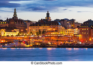 晚上, 風景, ......的, stockhom, 瑞典