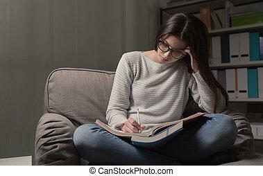 晚, 学习, 女孩, 夜晚