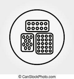 普遍的, editable, ライン。, blister., 薄くなりなさい, vector., icon., 丸薬