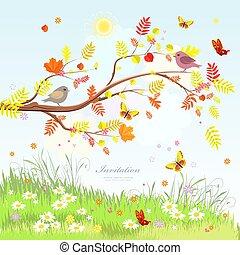 景色, かわいい, 木, 挨拶, 秋, bu, ブランチ, 美しい, カード
