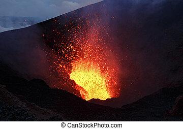 景色, ずっと, 爆発, peninsula., 夜, ロシア人, 火山, 東, kamchatka