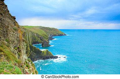 景色。, アイルランド, コルク, 海岸, 郡, 大西洋, 海岸線, アイルランド