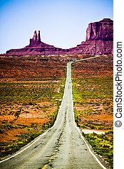 景色, アリゾナ, 谷, 記念碑