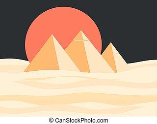 景色。, エジプト人, 太陽, イラスト, ベクトル, ピラミッド, desert., 赤