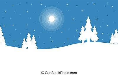 景色, シルエット, クリスマス, 冬