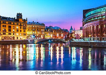 景色, スウェーデン, ストックホルム, 冬, 夜