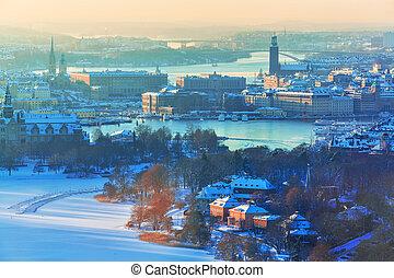 景色, スウェーデン, ストックホルム, 航空写真, 冬