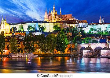 景色, チェコ, 夜, 共和国, プラハ