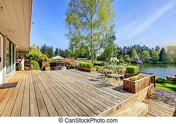 景色。, デッキ, 春, 湖, 大きい, 木