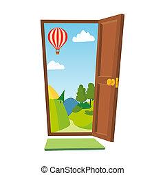 景色。, ドア, illustration., 平ら, 隔離された, 前部, ビュー。, 開いた, 漫画