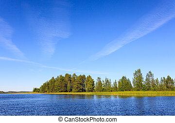 景色, フィンランド, 日当たりが良い, 湖, 日