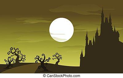 景色, フルである, 大きい, ハロウィーン, 月, 城