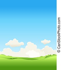 景色。, ベクトル, 牧草地