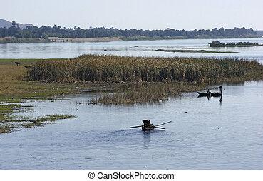 景色, ボート, 川釣り, ナイル