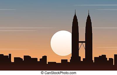 景色, マレーシア, シルエット, コレクション, 都市