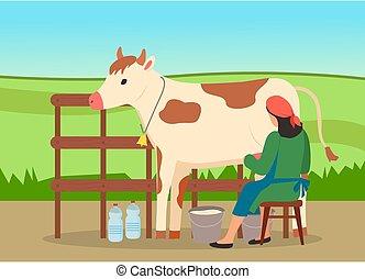 景色。, 仕事, フィールド, 田舎, 農夫, 自然, 女, 牛, 搾り出すこと, milkmaid