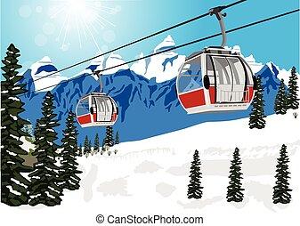 景色, 冬, ケーブルカー, リフト, ブース, すばらしい, スキー, ∥あるいは∥
