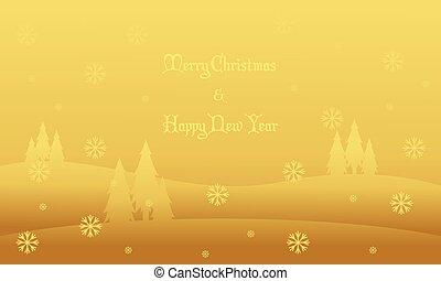 景色, 冬, シルエット, クリスマス, 丘