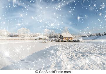 景色。, 冬, 凍らせられた, 浴室, pond., クリスマスカード
